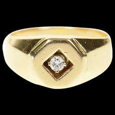14K Diamond Solitaire Ornate Geometric Statement Ring Size 8.5 Yellow Gold [CXQC]