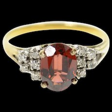 14K Garnet Oval Diamond Cluster Accent Statement Ring Size 5 Yellow Gold [CXQC]