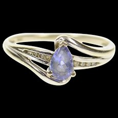 14K Pear Tanzanite Diamond Accent Bypass Ring Size 7.25 White Gold [CXQC]