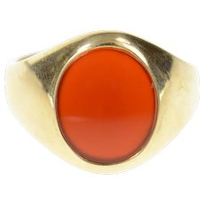 10K Oval Carnelian Men's Retro 1960's Statement Ring Size 10 Yellow Gold [CXQX]