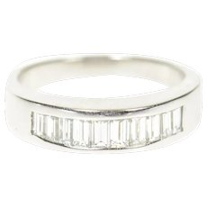 14K 0.80 Ctw Baguette Diamond D VS1 Wedding Band Ring Size 7.25 White Gold [CXQC]
