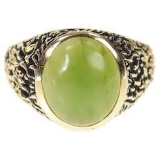 10K 1960's Men's Nephrite Jade Textured Bark Ring Size 10.75 Yellow Gold [CXQX]