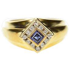 10K Men's Square Princess Iolite Diamond Halo Ring Size 10.25 Yellow Gold [CXQC]