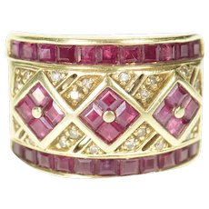 14K Ornate Squared Ruby Diamond Encrusted Band Ring Size 6.75 Yellow Gold [CXQC]
