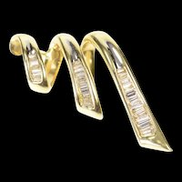 14K 0.75 Ctw Baguette Diamond Inset Ornate Loop Pendant Yellow Gold [CXQC]