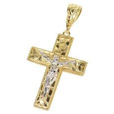 10K Crucifix Jesus Christ Textured Cross Christian Pendant Yellow Gold [CXXW]