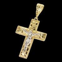10K Crucifix Jesus Christ Textured Cross Christian Pendant Yellow Gold [CXQC]