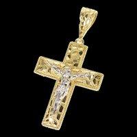 10K Crucifix Jesus Christ Textured Cross Christian Pendant Yellow Gold [CXQX]