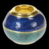 14K Blue Green Enamel Round Simple Slide Charm/Pendant Yellow Gold [CXQX]
