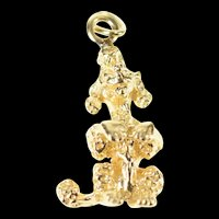14K 3D French Poodle Dog Animal Charm/Pendant Yellow Gold [CXQX]