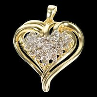 18K 0.36 Ctw Diamond Classic Heart Love Symbol Pendant Yellow Gold [CXQC]
