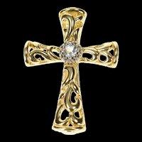 14K Blue Topaz Scroll Filigree Cross Christian Pendant Yellow Gold [CXQX]