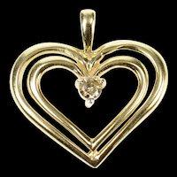 10K Diamond Inset Classic Heart Love Symbol Pendant Yellow Gold [CXQC]