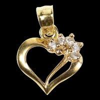 10K Diamond Inset Love Symbol Simple Heart Pendant Yellow Gold [CXQC]