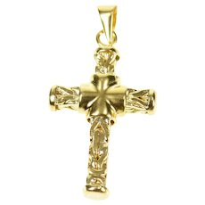 18K Squared Byzantine Link Cross Christian Faith Pendant Yellow Gold [CXXW]