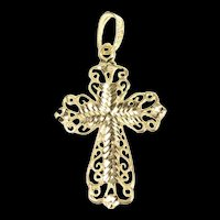 14K Ornate Scroll Filigree Cross Christian Faith Pendant Yellow Gold [CXQX]