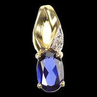 10K Oval Syn. Sapphire Diamond Accent Simple Pendant Yellow Gold [CXQX]