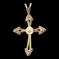 10K Cross Pearl Diamond Classic Christian Faith Pendant Yellow Gold [CXQX]