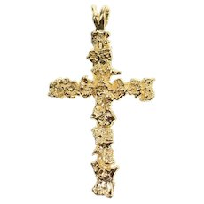 14K Textured Nugget Pattern Cross Christian Faith Pendant Yellow Gold [CXXW]