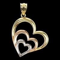 10K Tri Tone Simple Layered Heart Love Symbol Pendant Yellow Gold [CXQX]