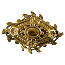 Gold Plated Gold Filled Vintage Flower Embossed Pin/Brooch   [QWXK]