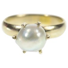 14K Retro Light Blue Pearl Prong Statement Ring Size 6 White Gold [CXQC]