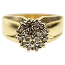 14K Round Diamond Cluster Retro Statement Ring Size 6.75 Yellow Gold [CXQX]