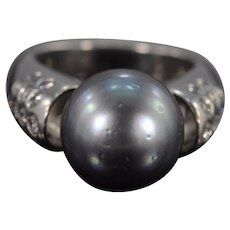 18K 13mm Tahitian Black Pearl Diamond Designer Ring Size 7.25 White Gold [QWXS]