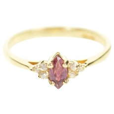 14K Marquise Ruby Cluster Diamond Accent Ring Size 6 Yellow Gold [CXQX]