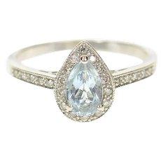 14K Pear Blue Topaz Diamond Halo Statement Ring Size 8.75 White Gold [CXQX]