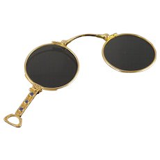 14K 0.30 CTW Sapphire Accented Opera Reading Glasses Expandable  Yellow Gold  [QPQC]
