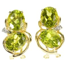14K Peridot Diamond Accent French Clip Earrings Yellow Gold [CXQX]