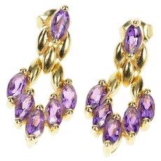 14K Marquise Amethyst Chevron Dangle Statement Earrings Yellow Gold [CXQC]