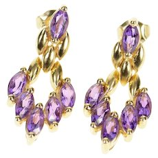 14K Marquise Amethyst Chevron Dangle Statement Earrings Yellow Gold [CXQX]