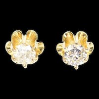 14K 0.30 Ctw Diamond Gypsy Solitaire Classic Stud Earrings Yellow Gold [CXQC]