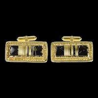 18K Men's Rutilated Quartz Black Onyx Ornate Cuff Links Yellow Gold [CXQC]