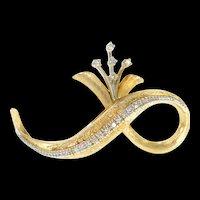 14K 1950's Retro Diamond Floral Loop Statement Pin/Brooch Yellow Gold [CXQC]