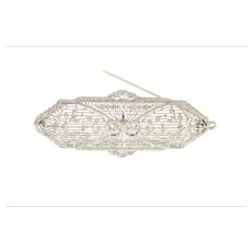 14K 0.34 Ctw Art Deco Ornate Vine Filigree Pendant/Pin White Gold [CXQX]