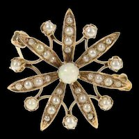 14K Victorian Ornate Seed Pearl Opal Flower Pin/Brooch Yellow Gold [CXQC]