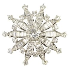 Platinum 4.36 Ctw Diamond Flower Snowflake Cluster Pin/Brooch  [CXQX]