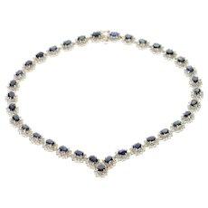 "14K 36.12 Ctw Natural Sapphire Diamond Halo Necklace 16.25"" White Gold [CQXC]"