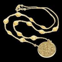 "14K Druzy Quartz Citrine Mesh Chain Statement Necklace 17.5"" Yellow Gold [CXQC]"