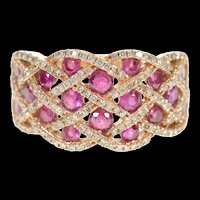 14K Woven Natural Ruby Diamond Pave Band Ring Size 7 Rose Gold [CXQC]