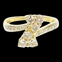 14K 0.78 Ctw Diamond Clover Bypass Engagement Ring Size 7.25 Yellow Gold [CXQC]