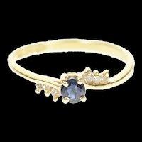 14K Round Natural Sapphire Diamond Wavy Ring Size 6.75 Yellow Gold [CXQC]