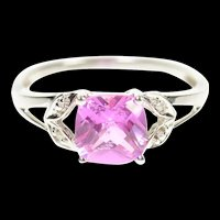 10K Oval Pink Topaz Diamond Leaf Accent Ring Size 7.25 White Gold [CXQC]
