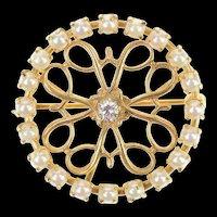 14K Ornate Diamond Pearl Halo Swirl Circle Pin/Brooch Yellow Gold [CXQC]