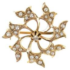 10K Victorian Seed Pearl Scroll Diamond Pendant/Pin Yellow Gold [CXQX]