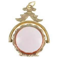 10K Victorian Ornate Agate Locket Pocket Watch Fob Pendant Yellow Gold [CXQC]