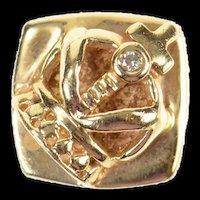 14K Diamond Inset Squared Crown Slide Bracelet Charm/Pendant Yellow Gold [CXQX]